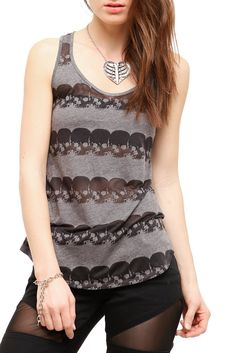 TEENAGE RUNAWAY GREY BURNOUT SKULL STRIPE TANK TOP