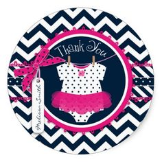 Hot Pink Tutu & Chevron Print Baby Shower Round Stickers