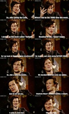 Sorry Twilight fans. Matt Smith and Dracula win. :P Love this!
