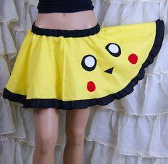 Pikachu Pokemon Retro Gamer Applique Circle Skirt by mtcoffinz, $40.00