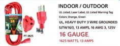 extension cord indoor outdoor heavy duty 3 wire grounded 16 awg ul listed 25ft #POWTACH