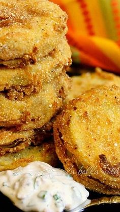 Fried Green Tomatoes with Garlic Bacon Buttermilk Sauce
