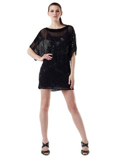 High Neck Half Sleeves Side Black Tulle and Sequined Short Sheath Style Cocktail Party Dress Cocktail Dresses With Sleeves, Short Cocktail Dress, Mantel Elegant, Reunion Dress, Unique Homecoming Dresses, Clothes Encounters, Chiffon, Dress P, Party Dress