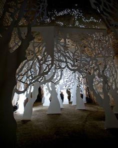 cutout paper trees set design - Google Search