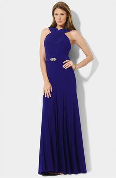 Lauren by Ralph Lauren Wrapped Neckline Trumpet Gown available at #Nordstrom