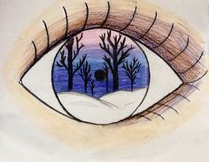 I drew this eye reflection using sharpies, color pencils and crayons for my elementary students as an example. Winter scene.