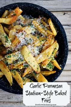 Garlic Parmesan Stadium-Style Steak Fries #Superbowlsnacks #Gameday  #BigGame                   Via foodiewithfamily.com  Onto Appetizers, Dips and Salsas.