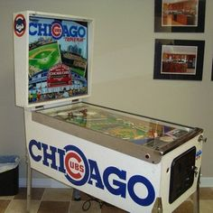 Chicago Cubs Pinball.  Cubs Win, Cubs win! This machine was built in 1985 by Premier games, formerly known as Gottlieb. Game is in Collector Quaility condition. Game was recently refurbished. FGame will gcome with a new set of yellow drop targets and baseball decals.  http://www.greatamericanpinball.com