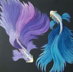Painted by Noeletta Cardenas, acrylic on 12x12 stretched canvas.  #theartsherpa design Dualing Betta Fis