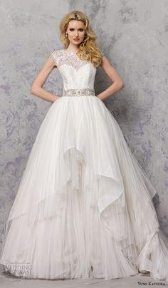 yumi katsura spring 2016 bridal sleeveless illusion jewel neckline ball gown wedding dress belinda