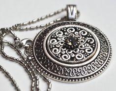 BLACK DIAMOND antique silver necklace £16.00