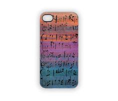 Rainbow Sunset Music iPhone Case Painted Notes iPhone 5 4S 4 Musicians Purple Pink Blue Orange Fine Art Autumn Fall Jewel Tones Colors on Etsy, $21.00