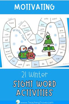 Sight word activities that are editable make it easy to create hands on teaching resources that help even your struggling readers to learn their sight words. With this editable sight word pack you can quickly make 21 literacy centers that target the sight words your class need to learn – all with a fun winter theme. These fun printables are perfect for small groups and centers.#wordwork #sightwordactivities #sightwords Teaching Sight Words, Sight Word Practice, Teaching Phonics, Teaching Resources, Teaching Ideas, Word Work Games, Sight Word Activities, Reading Activities, Classroom Activities