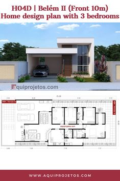 This home has 3 bedrooms. Small House Floor Plans, Bungalow House Plans, Family House Plans, Modern House Plans, Home Design Plans, Home Interior Design, Modern Small House Design, House Construction Plan, Concrete Structure