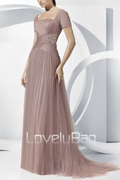 Ruched Beaded Tulle A Line Sleeve Square Neck Train Long Prom Gown Evening Dress | eBay