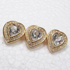Vintage signed Swarovski crystal triple heart by jewelry715, $16.00