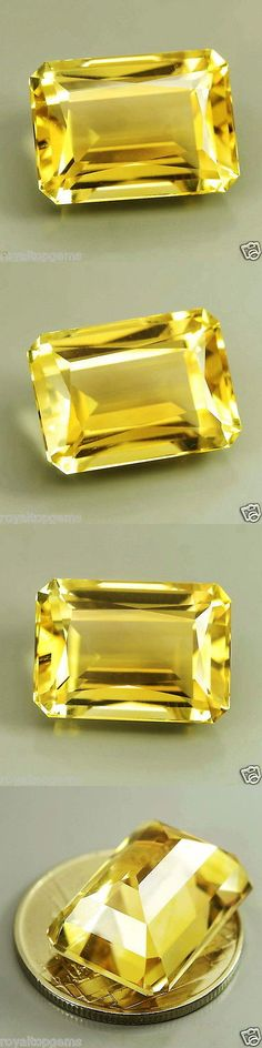 Citrine 10205: 13.50 Ct Certified Emerald Cut Vvs Natural Unheat Top Luster Gold-Yellow