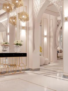 High-end elegant house interior with lux decoration. The interior design is created by the best decorators&designers of Spazio interior design studio in Dubai. Arabic Decor, Islamic Decor, Modern Mansion Interior, Luxury Homes Interior, Interior Design Studio, Modern Interior Design, Home Entrance Decor, Home Design Plans, Modern Moroccan