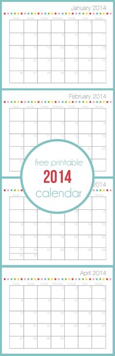 Free printable calendar for 2014 on iheartnaptime.com