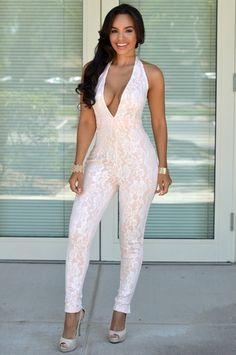 Gigi White Lace Pink Low V Jumpsuit