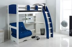 An alternative to the Scallywag modular range this High Sleeper bed comes complete with an integral desk, shelves and a free standing chair bed with futon. Offering excellent value for money. White frame, desk and shelves, with end panels and Scallywag Curved or Straight Ladder in 8 colour options. Futon in 5 colour options.Complete the package with a handy Hook on Shelf, also available in 8 colour options.(Accessories not included).