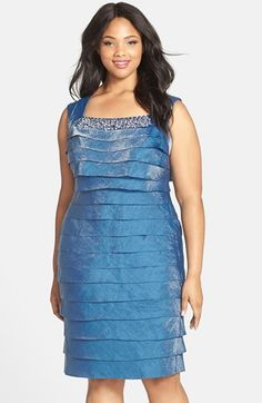 London Times Embellished Shimmering Tier Sheath Dress (Plus Size) available at #Nordstrom