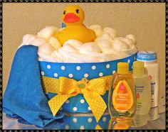 Rubber Duckie Diaper Cake by JustBabyCakes $26.99