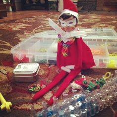 #elftakeover : rainbow looming Elf #holiday2013daily Elf on the Shelf