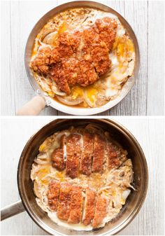 Katsu-don (カツ丼), is a very filling main dish. A bowl of rice topped with tonkatsu (deep fried crumbed pork cutlet), onion and beaten egg, cooked in dashi with sweet soy sauce. Pork Cutlet Bowl, Pork Cutlets, Pork Katsu Recipes, Chicken Katsu Donburi Recipe, Katsudon, Japanese Dishes, Japanese Rice, Cooking Equipment, Pork Dishes