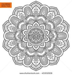Outline Mandala for coloring book. Decorative round ornament. Anti-stress therapy pattern. Weave design element. Yoga logo, background for meditation poster. Unusual flower shape oriental line vector.
