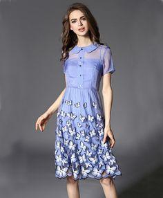 d161f997a2 Blue Designer Round Quarter Half Sleeve One Piece Dress. Western Dresses  Online, Butterfly Net