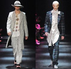 DRESSCAMP by Toshikazu Iwaya 2014-2015 Fall Autumn Winter Mens Runway Looks - Mercedes-Benz Fashion Week Tokyo Japan Catwalk Fashion Show - Denim Jeans Jumpsuit Boiler Suit Coveralls Outerwear Down Parka Coat Furry Hoodie Ribbon Leopard Oversized Dalmatian Spots Plaid Tartan Military Shorts Tuxedo Jacket Moustache Tights Fringes Hearts Stars Houndstooth Wide Leg Pants Trousers Motorcycle Biker Rider Hat Sweatpants Sweatshirt Necklace Print Motif