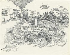 Michael K. Frith's concept art and maps for Jim Henson's Fraggle Rock.