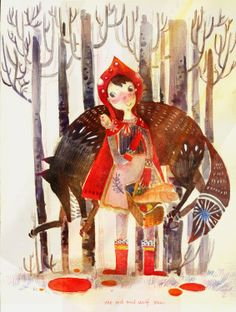 Mengqian Chen - Little red riding hood and the big bad wolf / cappuccetto rosso e il lupo cattivo