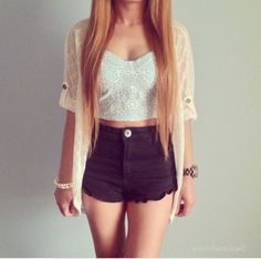 summer outfit not quite my style but cute Teen Fashion, Love Fashion, Fashion Outfits, Fashion Trends, Fashion Hair, Fashion Vest, Mode Outfits, Casual Outfits, Spring Summer Fashion