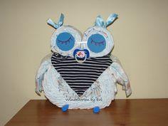diaper owl /  Windeleule 'Sleepy' für Jungs - Windeltorte! - ein Designerstück von Windeltorten-by-Evi bei DaWanda