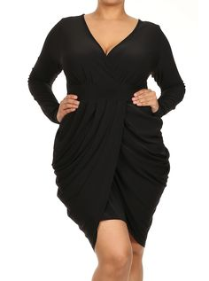 11721a1268b36 Plus Size Long Sleeve V Neck Bubble Black Dress