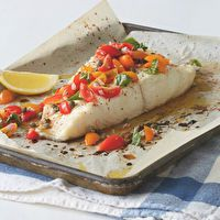 Roasted Halibut with Tomato-Caper Relish by Katie Lee