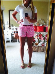 "carry-me-back-to-virginia:  OOTD - June 21 (Happy National Wear Your Lilly Day!!!!) Lilly Pulitzer White Polo + Buttercup Shorts in ""She's A Fox"" Pearl Necklace Gold Cork Jack Rogers"