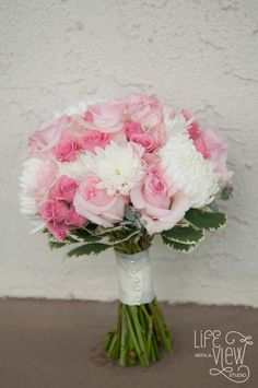 Bouquet by Tami McAllister.  Pink and white, mums and roses. Photo by Life with a view photography.