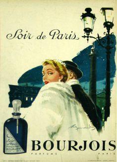 serata a Parigi profumo anni & 1950s Posters, Old Posters, Vintage Advertising Posters, Retro Poster, Old Advertisements, Vintage Travel Posters, Advertising Ideas, Paris Perfume, Perfume Ad