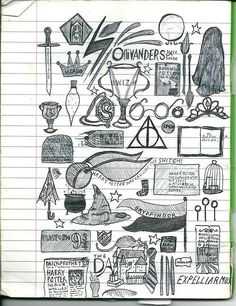 Drawing Harry Potter Hogwarts Thoughts Ideas For 2019 Bullet Journal Harry Potter, Arte Do Harry Potter, Theme Harry Potter, Harry Potter Love, Harry Potter World, Harry Potter Anime, Harry Potter Riddles, Harry Potter Drawings Easy, Harry Potter Notebook