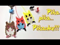 Macrame keychain tutorial: A cute pikachu - pokemon keychain - Hướng dẫn. Macrame Knots, Micro Macrame, Make A Pokemon, Crochet Potholder Patterns, Macrame Jewelry Tutorial, Cute Pikachu, Prom Dresses For Sale, Macrame Projects, General Crafts
