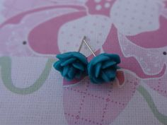 Turquoise Flowers Post Earrings by wynbrit on Etsy, $3.25
