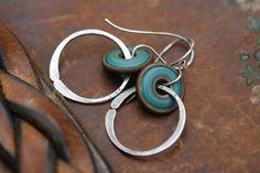Rustic Artisan Lampwork Discs earrings n283  modern by Tribalis