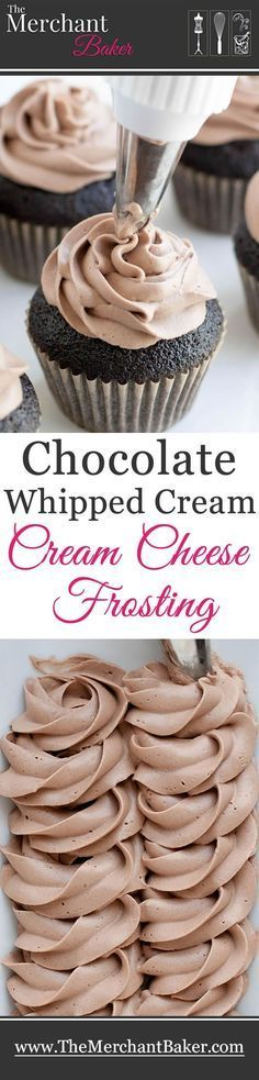 Chocolate Whipped Cream Cream Cheese Frosting - The Merchant Baker - - Chocolate Whipped Cream Cream Cheese Frosting. A combination of two favorites, now in chocolate! Wonderfully mellow, creamy and not too sweet! Keks Dessert, Bon Dessert, No Bake Desserts, Just Desserts, Delicious Desserts, Cupcake Recipes, Baking Recipes, Dessert Recipes, Homemade Frosting Recipes