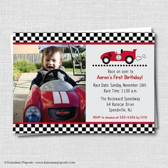 Nascar birthday invitations my birthday pinterest nascar and race car photo birthday invitation race car themed party boy birthday digital design or printed invitations filmwisefo Choice Image