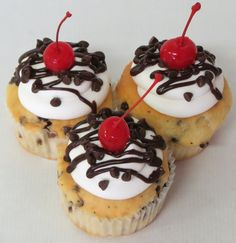 Introducing the White Cherry Chocolate Cupcake!  It's a white cake baked with Chocolate Chips and filled with Cherry filling.  Topped with our homemade Cherry flavored buttercream, sprinkled with mini Chocolate Chips, drizzled Chocolate ganache, and a Maraschino Cherry! #cupcakes #cupcakedesign #cherry #chocolatechips #maraschinocherry