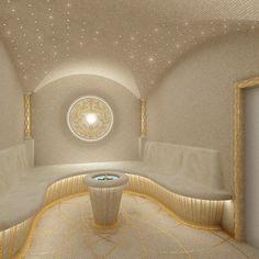 Private residence SPA Hammam Interior design from fedorovich. Sauna Steam Room, Sauna Room, Steam Bath, Spa Interior Design, Sauna Design, Bath Design, Luxury Spa, Luxury Hotels, Spa Rooms