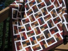 """an awesome sparkling gemstones quilt    The pattern for the quilt comes from the book """"Jelly Roll Quilts"""" by Pam and Nicky Lintott and is called """"Sparkling Gemstones""""."""